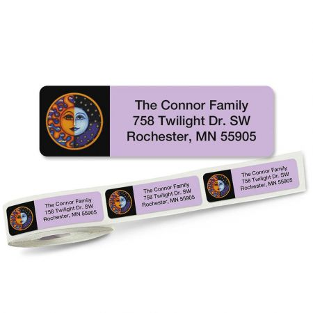 Sun and Moon Rolled Return Address Labels