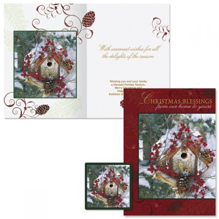 Winter Blessings Christmas Cards - Personalized