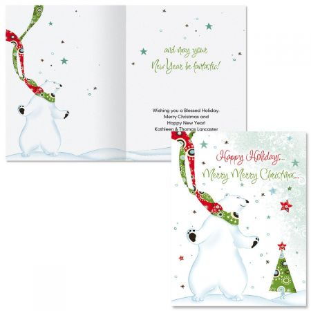 dance of the polar bears note card size christmas cards