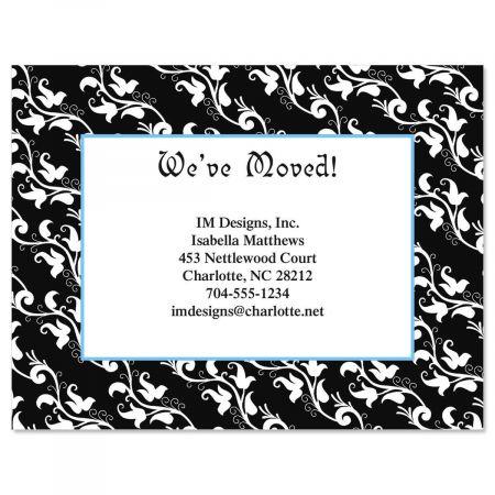 Black Elegance We've Moved Postcards  (3 Designs)