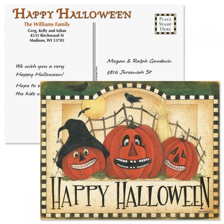 Happy Halloween Postcards Colorful Images