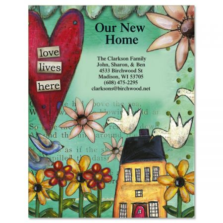 Love Lives Here New Address Postcard