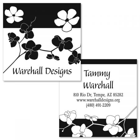 Onyx Blossom Double-Sided Square Business Cards