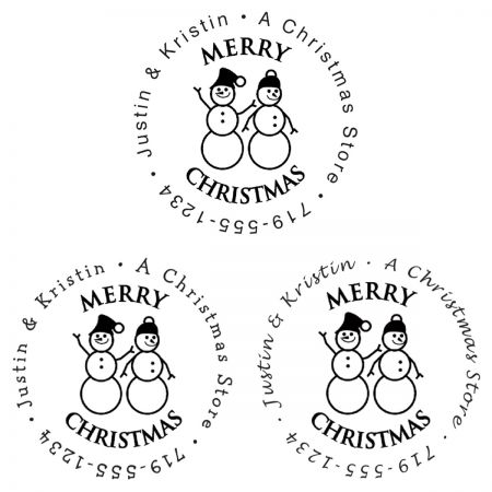 Snowman Family Christmas Round Stamp