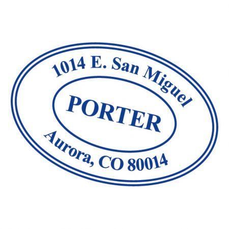 Oval Address Stamp-Blue Ink-478015