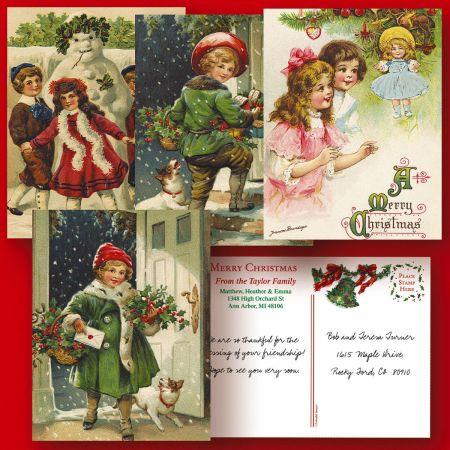 Vintage Christmas  Postcards  (4 Designs)