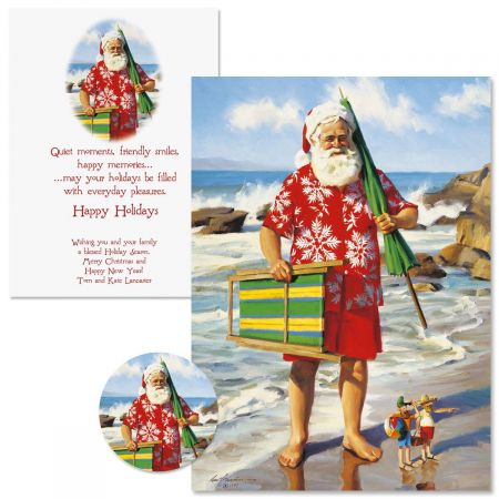Sun, Surf, and Santa Christmas Cards  -  Personalized
