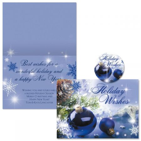 Blue Display Christmas Cards -  Personalized