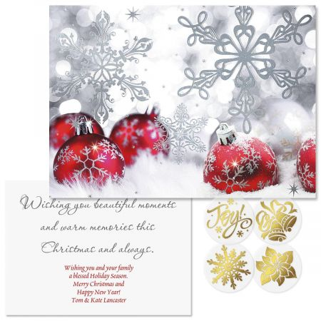 silver shimmer foil christmas cards personalized - Foil Christmas Cards