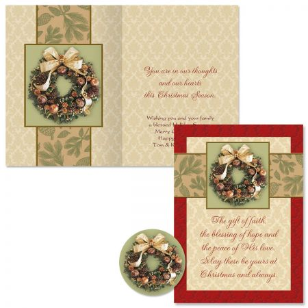 Wreath Magic Christmas Cards -  Personalized