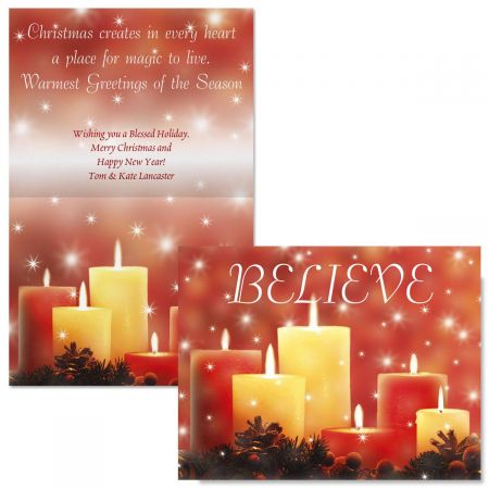 Candlelight Glimmer  Note Card Size  Christmas Cards