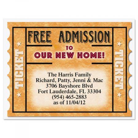 Free Ticket New Address Postcards