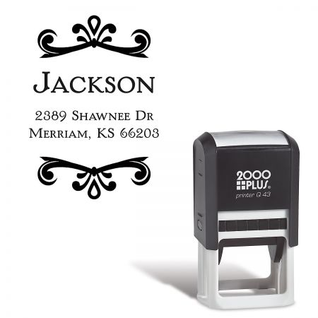 Scroll Name-Round Stamp