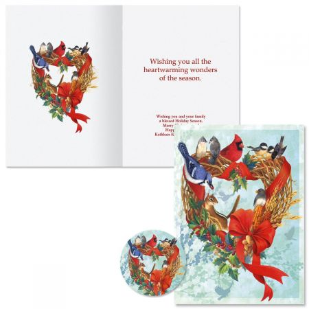 Birdland Wreath Christmas Cards -  Personalized