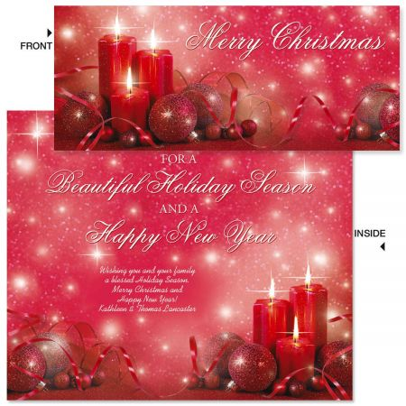 Glowing Lights Slimline Holiday Cards