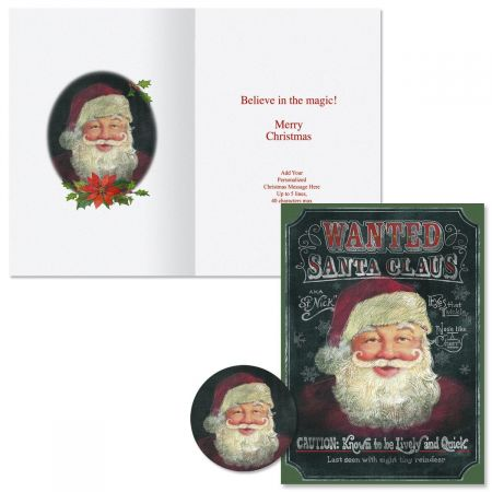 Wanted Santa Christmas Cards -  Personalized