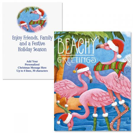 Personalized Christmas Cards.Beachy Greetings Note Card Size Christmas Cards