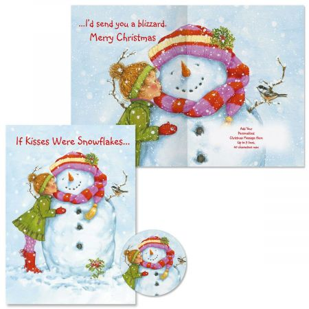 If Kisses Were Snowflakes Christmas Cards -  Personalized