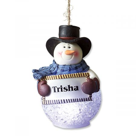 light up snowman personalized ornament