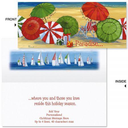 Holiday Umbrella  Slimline Holiday Cards