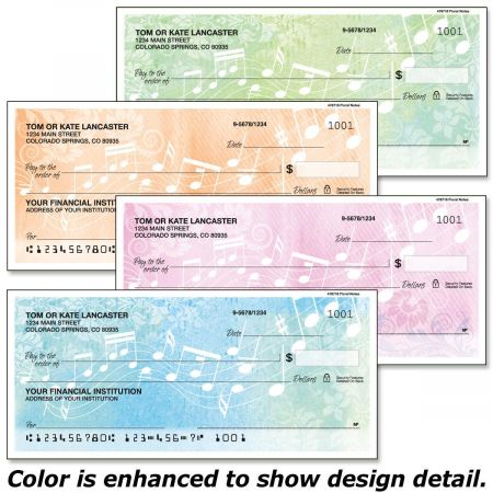 Floral Notes Personal Checks