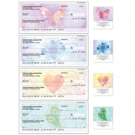 Bright Watercolors Single Checks with Matching Address Labels