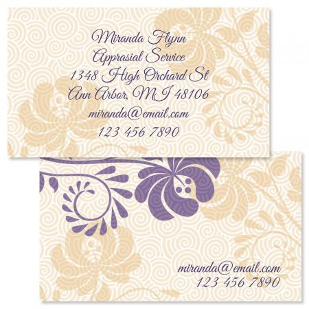 Frosty Lavender Double-Sided Business Cards
