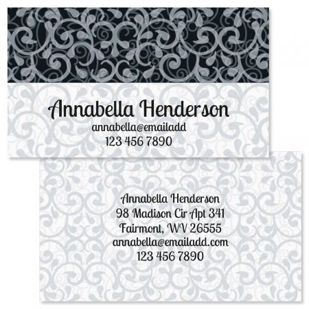 White-Grey-Black Double-Sided Business Cards
