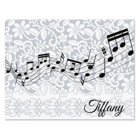 White-Grey-Black Personalized Note Cards
