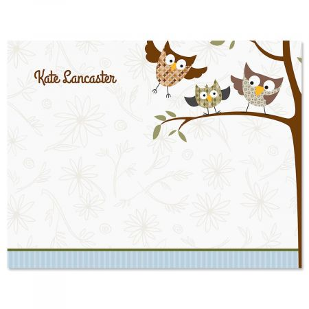 Fall Owls Personalized Note Cards