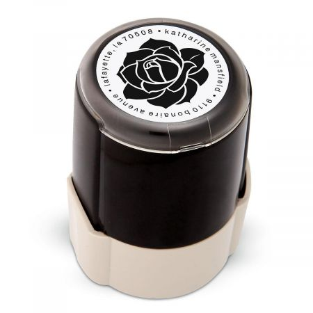Rose Round Address Stamp