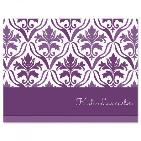 Aubergine Elegance Personalized Note Cards