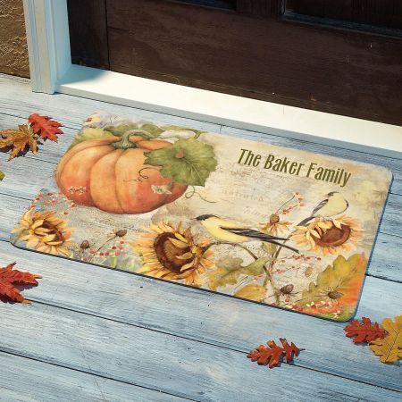 Pumpkin Sunflower Personalized Doormat
