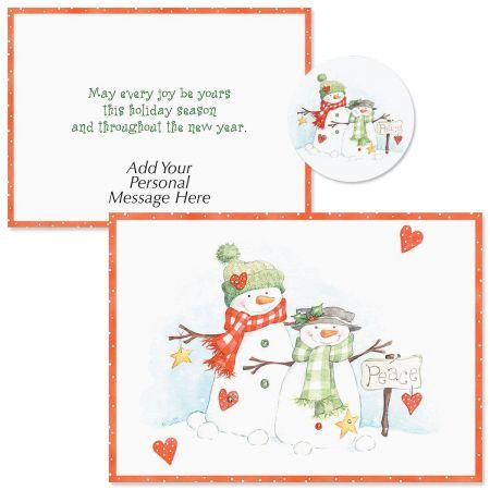 Peace Snowmen  Christmas Cards