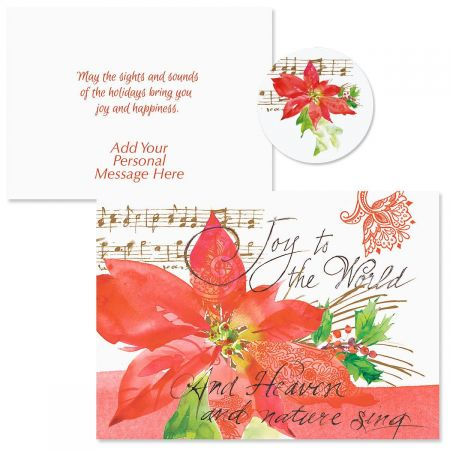 Poinsettia Melody Christmas Cards -  Personalized