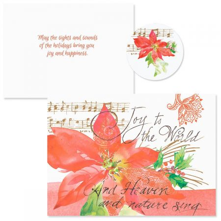 Poinsettia Melody  Christmas Cards - Nonpersonalized