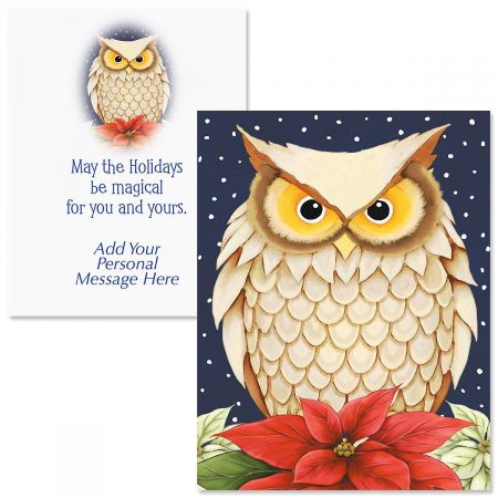 Winter Owl Note Card Size Christmas Cards