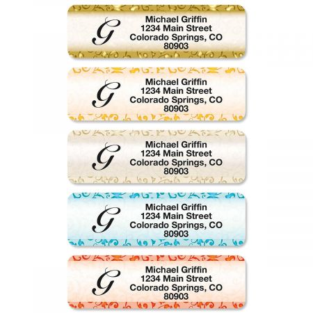 Stately Elegance Initial Rolled Return Address Labels (5 Designs)
