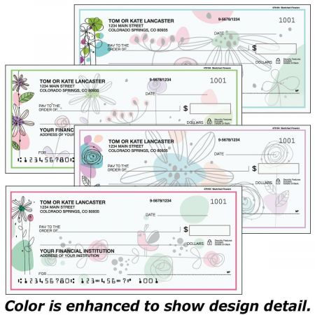 Sketched Flowers Checks
