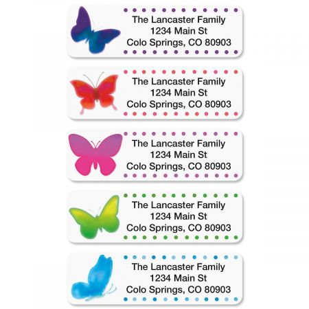 Watercolor Butterflies Rolled Return Address Labels  (5 Designs)