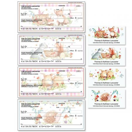Woodland Animals Single Checks with Matching Address Labels