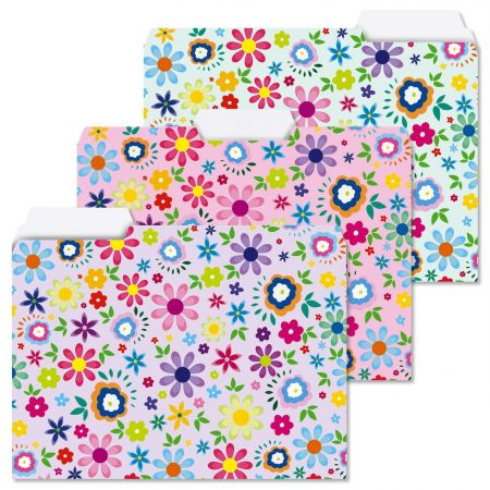 Cheerful Florals File Folders  (3 Designs)