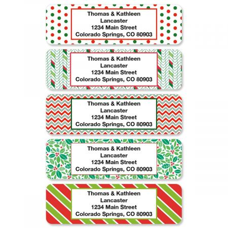 Christmas Holly Rolled Address Labels  (5 Designs)