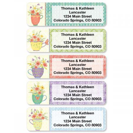 Teacups Rolled Return Address Labels (5 Designs)