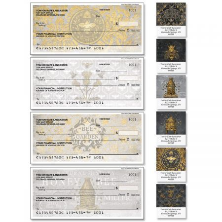 Honey Bee Single Checks with Matching Address Labels