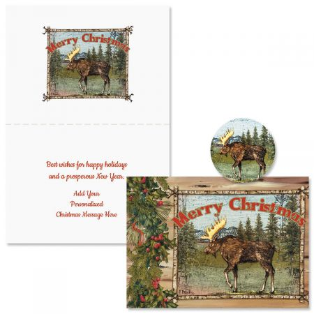 Christmas Moose Christmas Cards -  Personalized