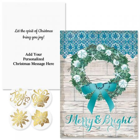 Coastal Christmas Foil Christmas Cards - Personalized