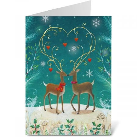 Adorned Antlers Note Card Size Christmas Cards