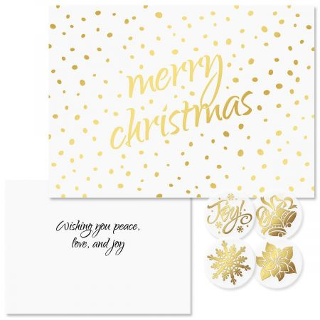 Golden Dots Christmas Cards -  Nonpersonalized