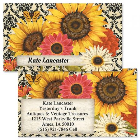 French Sunflower Double-Sided Business Cards